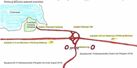 Die Zufahrt ist trotz Umleitugnsbeschilderung von der Autobahn A8 ganz normal und ohne Einschränkung befahrbar., © Chiemsee Camping Rödlgries
